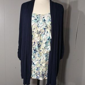 3/$20 AB Studio Cardigan Style Top w/Cami Insert L